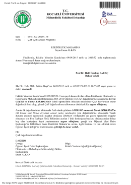 ÇAP (Çift Anadal Programı) - Mühendislik Fakültesi