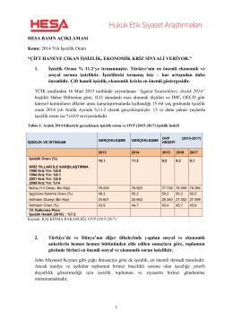 """1 HESA BASIN AÇIKLAMASI Konu: 2014 Yılı İşsizlik Oranı """"ÇİFT"""