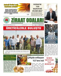 Ağustos 2015 Gazete - Türkiye Ziraat Odaları Birliği