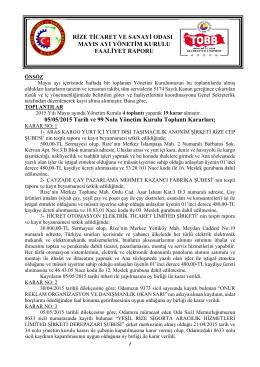 Mayıs Faaliyet Raporu - Rize Ticaret ve Sanayi Odası