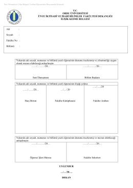 mezuniyet için gerekli formlar - Ünye İktisadi İdari Bilimler Fakültesi