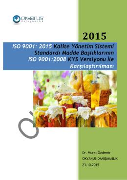ISO 9001:2015 Kalite yönetim sistemi standardı madde başlıklarının