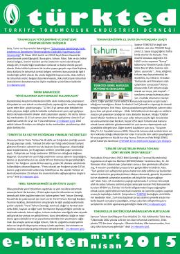Mart - Nisan 2015 Bülteni - Tarım Kooperatifleri Merkez Birliği