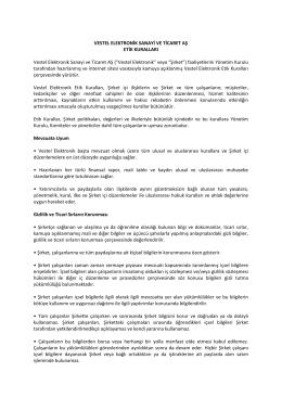 Vestel Elektronik Sanayi ve Ticaret AŞ Etik Kuralları