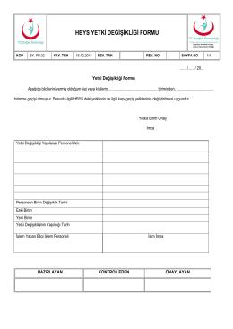BY.FR.02 - Hbys Yetki Değişikliği Formu