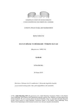 (Başvuru no. 34902/10) KARA - İnsan Hakları Daire Başkanlığı