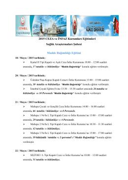 2015 CEZA ve İNFAZ Kurumları Eğitimleri Sağlık Araştırmaları