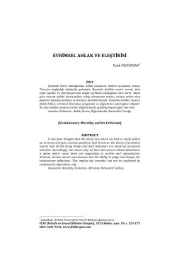 evrimsel ahlak ve eleştirisi - Flsf-Felsefe ve Sosyal Bilimler Dergisi