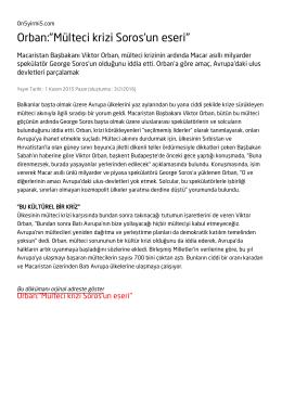 """Orban:""""Mülteci krizi Soros`un eseri"""""""