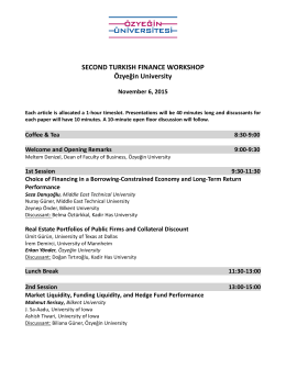 SECOND TURKISH FINANCE WORKSHOP Özyeğin University