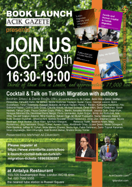 Book launch: Coctail & informed talk on Turkish Migration with authors