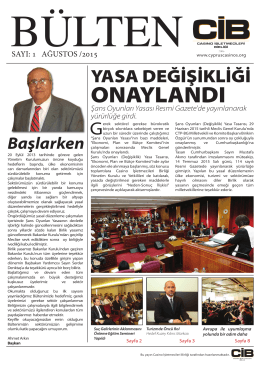 ONAYLANDI - Casino İşletmecileri Birliği