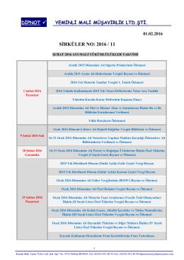 sırk 2016-11 şubat 2016 mali yükümlülük takvimi hk.