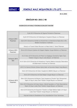 sırk 2015-48 kasım 2015 mali yükümlülük takvimi hk.