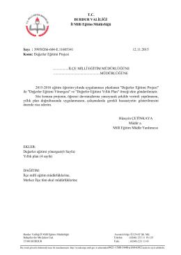 T.C. BURDUR VALİLİĞİ İl Milli Eğitim Müdürlüğü Sayı