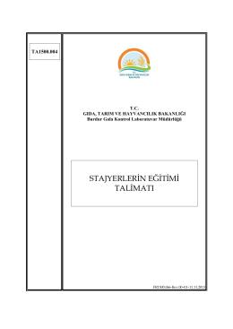 Staj Talimatı - İzmir Gıda Kontrol Laboratuvar Müdürlüğü