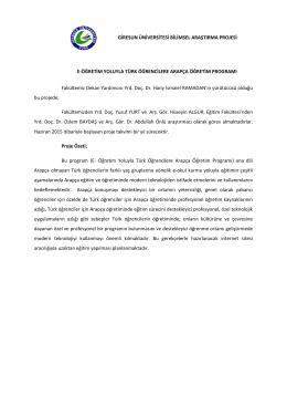E-Öğretim Yoluyla Türk Öğrencilere Arapça Öğretim Programı