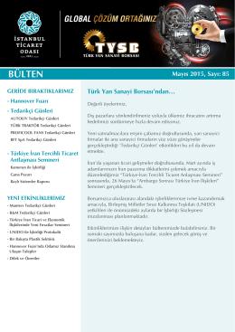 e-Bülten İndir - Türk Yan Sanayi Borsası
