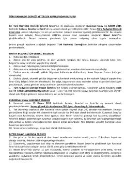 Sınav Duyurusu - Türk Radyoloji Derneği