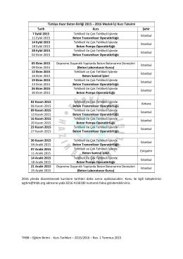 Türkiye Hazır Beton Birliği 2015 – 2016 Meslek İçi Kurs Takvimi