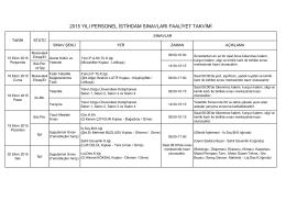 2015 yılı personel istihdam sınavları faaliyet takvimi