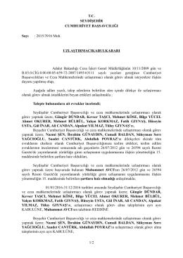 T.C. SEYDİŞEHİR CUMHURİYET BAŞSAVCILIĞI Sayı : 2015/3916