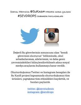 Sosyal Medya`da @SuKasifiprojesi adına çalışan #SEVDROPS