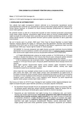 3.7.2015 tarihli SGK Genelgesi hk. SGK`nın 3.7.2015 tarihli