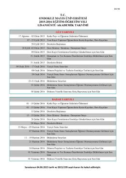 2015-2016 Eğitim Öğretim Yılı Akademik Takvim