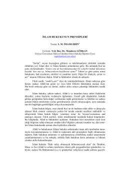 İslam Hukukunun Prensipleri - Dergi Hakkında
