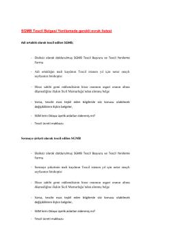 SGMB Tescil Belgesi Yenilemede gerekli evrak listesi