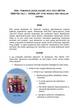 Eko School 1.Dönem Raporu
