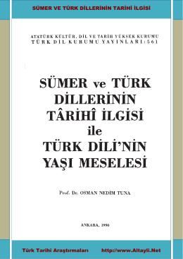 SÜMER VE TÜRK DİLLERİNİN TARİHİ İLGİSİ Türk Tarihi