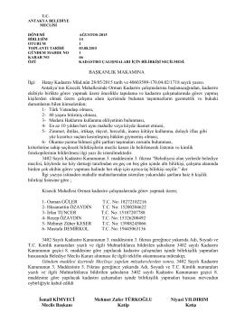 BAŞKANLIK MAKAMINA İlgi: Hatay Kadastro Müd.nün 28/05/2015
