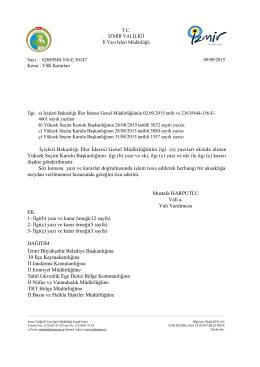 İçişleri Bakanlığı İller İdaresi Genel Müdürlüğünün ilgi (a) yazıları