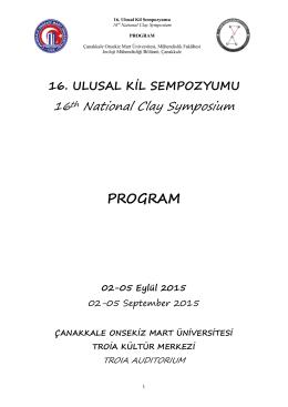 PROGRAM - 16. Ulusal Kil Sempozyumu