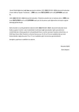 Genel Müdürlüğümüze bağlı bazı pansiyonlu okullara 1301