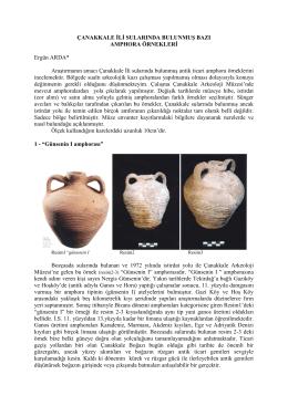 Çanakkale İli Sularında Bulunmuş Bazı Amphora
