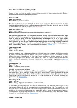 Yazılı Ödevlerden Örnekler (18 Mayıs 2015