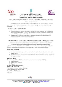 T.C. KÜLTÜR VE TURİZM BAKANLIĞI Devlet Opera ve Balesi Genel