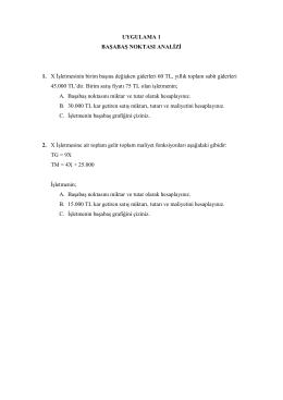 UYGULAMA 1 BAŞABAŞ NOKTASI ANALİZİ 1. X İşletmesinin birim