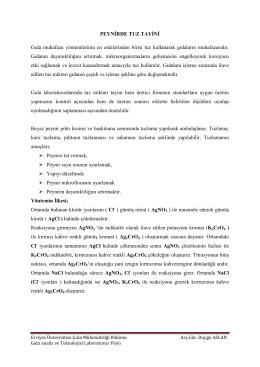 Peynirde Tuz Tayini - Erciyes Üniversitesi | Gıda Mühendisliği Bölümü