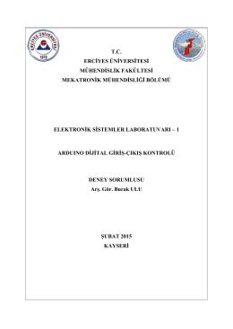 8. Ardunio ve Uygulamaları 1 - Mekatronik Mühendisliği Bölümü