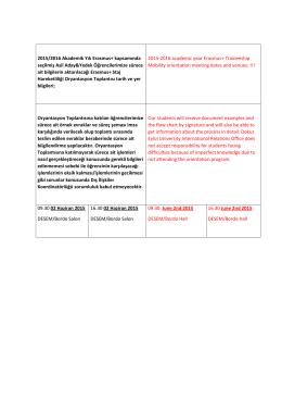 2015/2016 Akademik Yılı Erasmus+ Staj Hareketliliği ve Staj