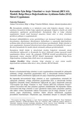 (BEYAS) Modeli: Belge/Dosya Değerlendirme-Ayıklama-İmha