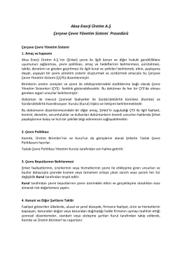 Aksa Enerji Üretim A.Ş Çerçeve Çevre Yönetim Sistemi Prosedürü