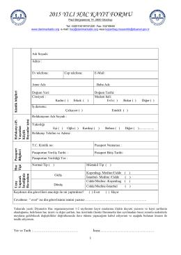 hac kayıt formu