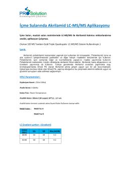 İçme Sularında Akrilamid LC/MS/MS Aplikasyonu pdf indir