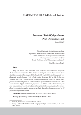 Astronomi Tarihi Çalışmaları ve Prof. Dr. Sevim Tekeli