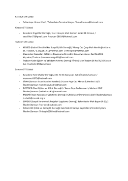 Karabük STK Listesi -‐ Sultantepe Hizmet Vakfı / Safranbolu